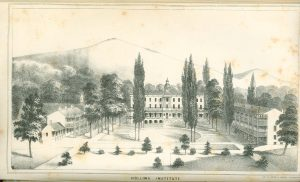 The Front Quad at Hollins Institute, 1861-1863. Courtesy of the Hollins Archives.